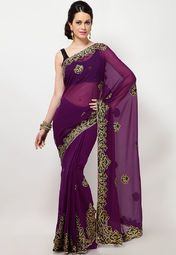 Purple coloured saree from Diva Fashion. Made of chiffon, this embroidered saree measures 5.5 m and comes with a 0.80 m blouse piece.