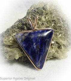 Wire Wrapped Royal Blue Swirlstone Man's Stone by superioragates, $25.00