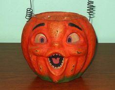 "Vintage Paper Mache Halloween Pumpkin Jack-O-Lantern Insert & Handle 5 1/2"" Tall"