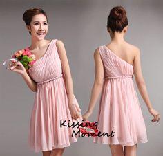 Simple pink Chiffon Bridesmaid dress Junior por Kissingmoment, $84,99