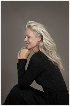 pia gronning in zenggi (photo by miep jukkema)  Here's a case for letting your long hair go gray, especially if one has her other features. ;)