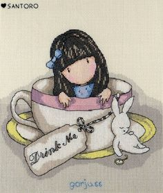 From the popular 'Gorjuss' girl series of cross stitch kits, this Sweet Tea design shows Gorjuss in a 'drink me' tea cup set with an a...