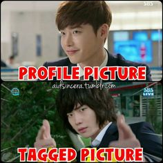 Lee Jong Suk, different profile picture and tagged picture