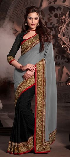 Indo Couture Beige And Black Party Wear Heavy Embroidered Sari With Blouse Lehenga Style Saree, Party Wear Lehenga, Lehenga Choli, Saree Blouse, Designer Sarees Collection, Saree Collection, India Fashion, Asian Fashion, Feminine Fashion