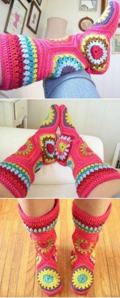 Crochet long socks