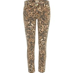River Island Brown Leopard Print Ankle Grazer Jeans ❤ liked on Polyvore