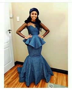 Top Shweshwe Dresses for Wedding Guests, Todays' trend we noticed and anticipate it's artlessly fab,. African Wear, African Attire, African Fashion Dresses, African Dress, Ankara Fashion, African Clothes, African Traditional Wedding Dress, Traditional Outfits, Traditional Weddings