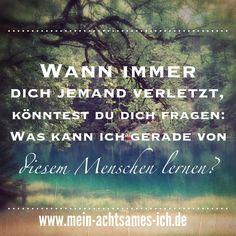 Wann immer dich jemand verletzt, könntest du dich fragen: Was kann ich gerade von diesem Menschen lernen? – www.mein-achtsames-ich.de