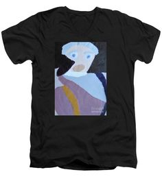 Patrick Francis Black Designer V-Neck T-Shirt featuring the painting Portrait Of A Lady 2014 by Patrick Francis