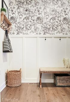 Love this fun black and white floral print, perfect in a mudroom! It was easy to install this wall mural. An updated mudroom with a large black and white floral mural Farmhouse Wallpaper, Dining Room Wallpaper, Wallpaper In Kitchen, Closet Wallpaper, Laundry Room Wallpaper, Hallway Wallpaper, Accent Wallpaper, Wallpaper Backgrounds, Design Blog