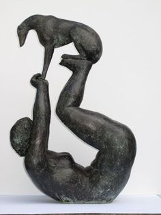 Resin bronze Couples or Group Sculptures #sculpture by #sculptor Elizabeth Waugh titled: 'My Acrobatic Lurcher (Bronze resin Man and Dog statues)' £995 #art