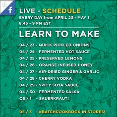 Learn to Preserve in 15 Minutes or Less - 9 Days of Live Video! Quick Pickled Onions, Cherry Vodka, Preserved Lemons, Batch Cooking, Sauerkraut, Have Time, Preserves, Goals, Learning