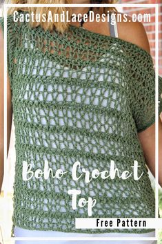 T-shirt Au Crochet, Pull Crochet, Crochet Shirt, Crochet Crafts, Boho Crochet Patterns, Crochet Vest Pattern, Free Pattern, Crochet Clothes For Women, Crochet Summer Tops