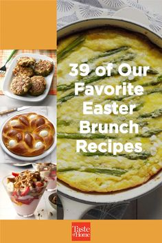 Entertain family and friends with these dreamy dishes. From French toast and egg casseroles to fruit salad and homemade doughnuts, find Easter brunch recipes your guests will love! Brunch Dishes, Brunch Recipes, Breakfast Recipes, Oven French Toast, Rhubarb Compote, Egg Casserole, Ham And Cheese, Easter Brunch, Holiday Treats