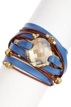 Swarovski Crystal Leather Wrap Bracelet by Sara Designs on @HauteLook
