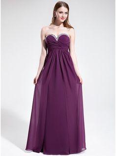 939f5bcd0454 Empire Sweetheart Floor-Length Chiffon Prom Dress With Ruffle Beading  Klänningar Skolbalen, Formella Klänningar