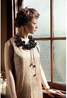 Flower necklace: m.soeur 黒いあじさいの付け襟 - shopstyle.co.jp