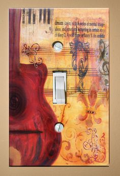 Light Switch Plate - Red Guitar Dream - Original Musical Art on Etsy, $7.00