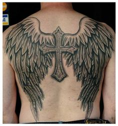 What does cross with wings tattoo mean? We have cross with wings tattoo ideas, designs, symbolism and we explain the meaning behind the tattoo. Angle Wing Tattoos, Wing Tattoos On Back, Wing Tattoo Men, Tattoo Son, Wing Tattoo Designs, Back Tattoos For Guys, Cross With Wings Tattoo, Angel Wings Tattoo On Back, Cross Tattoo For Men