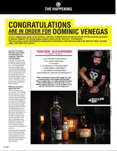 Congratulations to Dominic Venegas, Winner of the Tales of the Cocktail 2012 Official Cocktail Competition