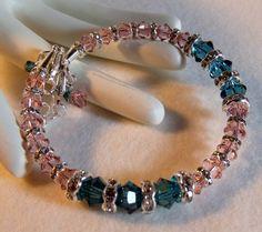 Teal and Pink Swarovski Crystal Sterling Silver Springwire Bracelet | KraftyMax - Jewelry on ArtFire