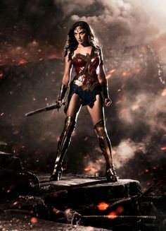 "First image of Gal Gadot as Wonder Woman in Batman vs Superman.Now say the magic words: ""Wonder Woman Movie"". Batman Wonder Woman, Wonder Woman Film, Gal Gadot Wonder Woman, Wonder Women, Wonder Woman Outfit, Batman Vs Superman, Superman Poster, Linda Carter, Women Poster"