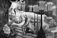 Kaiserin Elisabeth wird nach ihrem Tod aufgebahrt. Kaiser Franz Joseph kniet vor dem offenen Sarg. Lithographie nach einer Photographie von Ludwig Angerer. 1898.
