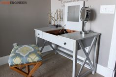 Free and easy DIY plans for how to build a flip top vanity with a hinged top. This great looking DIY vanity is functional and easily conceals all the mess. Diy Vanity, Diy Bathroom Vanity, Diy Makeup Vanity Plans, Vanity Desk, Bathroom Wall, Small Bathroom, Furniture Direct, Diy Furniture Plans, Outdoor Furniture