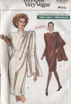 Vogue Sewing Pattern Mod Dress Shoulder Drape 7635 8 10 12 Uncut Very Easy for sale online Vogue Dress Patterns, Vintage Dress Patterns, Vintage Dresses, Retro Fashion, Vintage Fashion, Miss Dress, Vintage Couture, The Ordinary, Womens Scarves