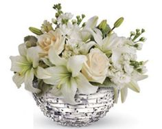 Quality cut glass bowl arragent in shades of white Flower Delivery Uk, Mothers Day Flower Delivery, Mothers Day Flowers, Romantic Flowers, Amazing Flowers, White Flowers, Fresh Flowers, Wedding Flowers, White Floral Arrangements
