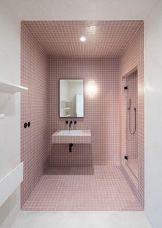 Find out: 15 attracting pastel bathroom interior design ideas Minimal Apartment, Duplex Apartment, Pastel Bathroom, Small Bathroom, Bathroom Ideas, Mosaic Bathroom, Bathroom Designs, Pink Bathrooms, Lowes Bathroom
