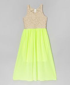 Look at this Neon Yellow Floral Lace Dress on #zulily today!