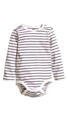 H&M Pitkähihainen body, raidallinen, valkoinen-harmaa, koko 80
