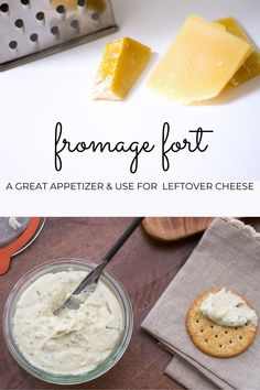 """This Fromage Fort Recipe could be just as easily called 'Leftover Cheese Recipe"""" as it is a great way to use up those bits and bobs of leftover cheese you have scattered throughout your refrigerator and freezer. Impress your guests with this easy appetizer. Great Appetizers, Easy Appetizer Recipes, Easy Snacks, Pinterest Food, Pinterest Recipes, Leftover Cheese Recipe, Party Dip Recipes, Party Sandwiches, Best Cheese"""
