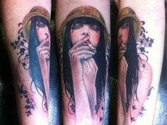 Tattoo Girl with cigarette  - http://tattootodesign.com/tattoo-girl-with-cigarette/  |  #Tattoo, #Tattooed, #Tattoos