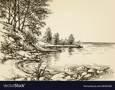 Small beach background hand drawn nature corner vector image on VectorStock Pencil Sketches Landscape, Landscape Drawings, Pencil Art Drawings, Landscape Art, Drawing Scenery, Nature Drawing, Beach Background, Building Art, Pen Art