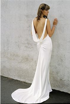 I love the idea of a low back wedding gown!