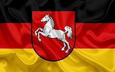 Download wallpapers Flag of Lower Saxony, Land of Germany, flags of German Lands, Lower Saxony, States of Germany, silk flag, Federal Republic of Germany
