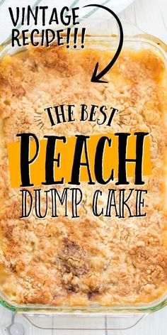 This old-fashioned peach dump cake is quick and easy dessert you'll absolutely love. A dump cake is a cake made by dumping the ingredients, which typically include store-bought cake mix, directly in a pan before baking. For this recipe, we used canned peaches along with cinnamon and cake mix to create a bubbly and warm dessert. It's the best when served fresh and hot out of the oven with cold vanilla ice cream scooped on top.