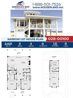 Spending the summer on the beach? Plan 028-00100 would be the perfect build for you! This Narrow Lot Plan offers 2,621 sq. ft., 3 bedrooms, 3 bathrooms, a sitting room, a covered porch, and an open floor plan. Get more information about this plan on our webpage. Two Bedroom Suites, Large Bedroom, One Bedroom, Narrow Lot House Plans, Double Closet, Sliding Door Systems, Built In Cabinets, City Living, Sitting Area