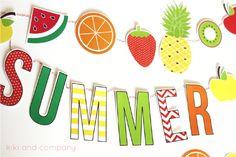 Ovocná girlanda ke stažení a vytištění zdarma. Summer Fruit Garland Free printable.