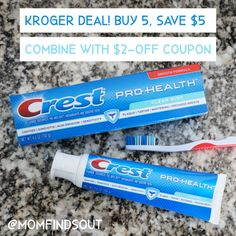 Now is a great time to stock up on Crest toothpaste! Check out thisHOT DEAL at Kroger: Buy 5 Crest, Save $5 instantly at check out. Combine this with the $2-off Crest coupon to save even more money! #CrestSmiles Brush My Teeth, Digital Coupons, Healthy Teeth, Teeth Cleaning, Cavities, Whitening, Dental, Hot