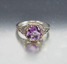 Vintage filigrana anello ametista dimensione 5.5 di boylerpf