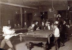 1909 Boston Newsboy Kids Playing Pool at Club Photo