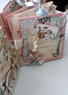 Beautiful Graphic 45 and Ladies Diary shabby chic mini album - Flying Unicorn