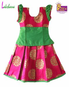Grand Pavadai for Special Occasion . Baby Girl Dress Patterns, Baby Dress Design, Baby Girl Dresses, Kids Lehanga Design, Kids Frocks Design, Lehanga For Kids, Kids Dress Wear, Kids Wear, Kids Blouse Designs