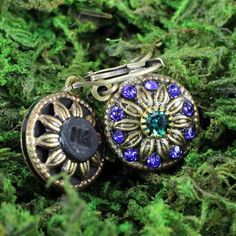 Michal Golan Blue and Green Round Wire Earrings