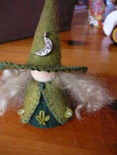 Crescent Moon Wool Felt Witch Peg Doll Witch by BRIDGITSBELL, $12.00