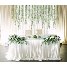 Engagement Party Decorations, Wedding Table Decorations, Wedding Table Settings, Wedding Entry Table, Artificial Garland, Artificial Flowers, Willow Leaf, Greenery Garland, Hanging Plants