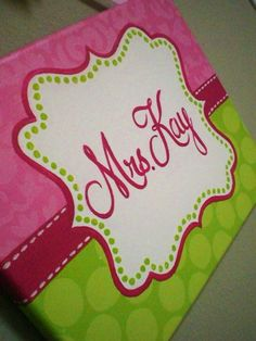 Pink and Lime Green Polka Dot/Damask Name Sign for teachers by KraftinMommy